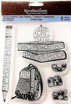 Recollections #clear #stamps - school days - #backpack, apple, books, pencil, abc,  View more on the LINK: http://www.zeppy.io/product/gb/2/401160178975/