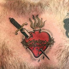 Heart Tattoos Meaning, Mom Heart Tattoo, Simple Heart Tattoos, Sacred Heart Tattoos, Heart Tattoo Designs, Unique Tattoos, Traditional Heart Tattoos, Small Traditional Tattoo, Small Girl Tattoos