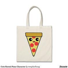 Cute Kawaii Pizza Character Budget Tote Bag