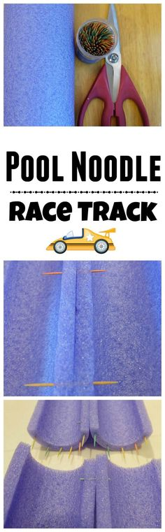 Pool Noodle Race Track - only 3 items needed to make this fun indoor activity.
