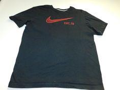 Nike Mens T Shirt Size Large L Black Swoosh Short Sleeve Athletic Gym Workout #Nike #GraphicTee