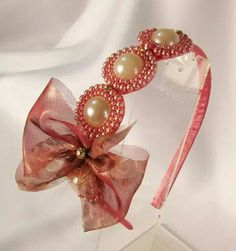 Tiara                                                       … Ribbon Headbands, Diy Headband, Baby Headbands, Ribbon Art, Ribbon Crafts, Satin Flowers, Fabric Flowers, Baby Hair Bows, Handmade Hair Accessories