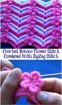 crochet rococo flower stitch