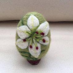 Needle felted egg - Easter Lily flower #feltflowers
