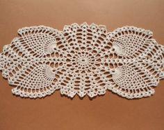 "Oval crochet doily, new hand crocheted doilies, ecru doily, lace doily, 14 "" X 6 """