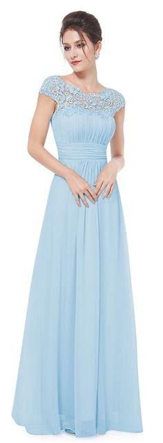 KATIE Baby Blue Lace Full Length Maxi Prom Evening Bridesmaid Dress - www.eloises-secret-closet.co.uk