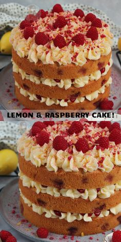 A Three-Layer Lemon and Raspberry Cake With a Lemon and Raspberry Sponge, Lemon & Raspberry Buttercream Frosting and more! Baking Recipes, Dessert Recipes, Tea Recipes, Sweet Desserts, Baking Ideas, Easy Desserts, Raspberry Lemon Cakes, Raspberry Desserts, Strawberry Cakes