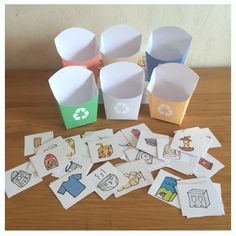 Yes, you know, I bought a new trash and it makes me happy! A publication shared by Valérie 🌸 AlloMamanDodo (allomaman - Recycling Activities For Kids, Early Learning Activities, Montessori Activities, Diy Organisation, School Organization, Preschool Classroom Decor, Diy Presents, Circle Time, Tot School