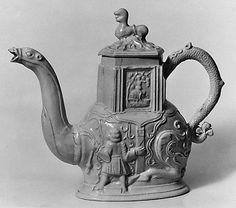 Teapot  Date: ca. 1745 Culture: British, Staffordshire Medium: Salt-glazed stoneware Dimensions: 6 1/4 x 7 5/8 in. (15.9 x 19.4 cm) Classification: Ceramics Credit Line: Gift of Carleton Macy, 1934