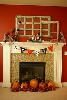 Fireplace Mantel Kits for an Awesome Living Space : Astonishing Halloween Fireplace Mantel Kits Decorating Ideas Red Wallpaper. asymmetrical side,cold air of winter,decoration theme,family gatherings,formal impression Fireplace Mantel Kits, Halloween Fireplace, Halloween Home Decor, Fireplace Design, Holidays Halloween, Halloween Crafts, Halloween Decorations, Halloween Ideas, Decorative Fireplace