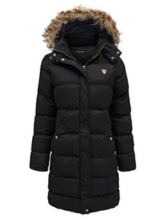 Chaos Theory Women's Fur Hooded Padded Quilted Long Parka Jacket Coat * You can find out more details at the link of the image.
