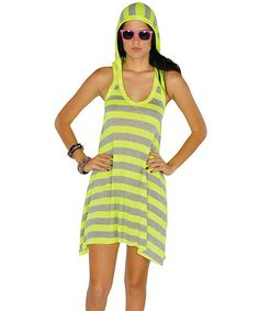 Take a look at this Neon Yellow Stripe Hooded Racerback Dress by Lagaci on today! *when i'm thin* Yellow Stripes, Neon Yellow, Gypsy Style, Style Me, Hooded Dress, Affordable Dresses, Tank Dress, Fashion Beauty, Summer Dresses