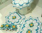Jogo de banheiro de crochê + brinde