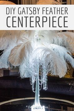 Learn how to make this glam DIY feather centerpiece that will turn your wedding or party into a really special event without breaking your budget. Ostrich Feather Centerpieces, Feather Bouquet, Great Gatsby Party Decorations, Bridal Shower Decorations, Wedding Decorations, Birthday Decorations, Halloween Decorations, Eiffel Tower Vases, Bouquet Holder