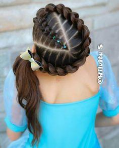 Nice, looks intricate Flower Girl Hairstyles, Little Girl Hairstyles, Trendy Hairstyles, Braided Hairstyles, Wedding Hairstyles, Toddler Hairstyles, Curly Hair Styles, Natural Hair Styles, Girl Hair Dos