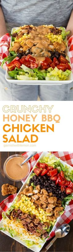 This cool Crunchy Honey BBQ Chicken Salad recipe is a satisfying dinner option for hot summer nights. Makes a great entree for a potluck, too!