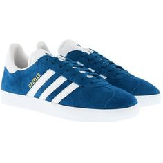 adidas Originals Sneakers - Gazelle Sneaker Croyal/White - in blue -... (54595 SYP) ❤ liked on Polyvore featuring shoes, blue, blue shoes, cap toe shoes, striped flat shoes, perforated leather shoes and toe cap shoes