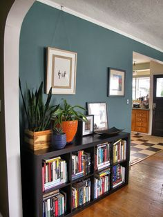 Benjamin Moore Caribbean Teal  http://www.justagirlwithahammer.com/2013/09/and-then-i-painted-everything.html