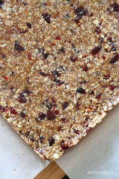 Morning Maple Cranberry Pecan Oat Bars | Skinnytaste More