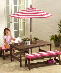 Love this KidKraft Pink & White Stripe Outdoor Table Set by KidKraft on #zulily! #zulilyfinds