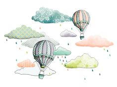 isao: illustration hot air balloon and cloud, montgolfière et nuage