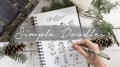 Here's another how to draw tutorial! I wanted to create more doodles for you to use in your journal, sketchbook, or anything, that are a little easier than t. Christmas Neighbor, Christmas Things, Simple Christmas, Led Pencils, Simple Doodles, Colouring Techniques, Doodle Art, Hand Lettering, Things To Come