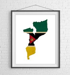 Mozambique Flag Map Print- https://www.etsy.com/listing/524018466/mozambique-flag-map-print-mozambique-map?ref=shop_home_active_8  Mozambique Map, Mozambique Silhouette, Housewarming Gift Idea, Flag Poster, African Wall Art, Map of Mozambique