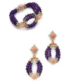 A diamond, amethyst, coral and yellow gold bracelet and pair of ear pendants, by Van Cleef & Arpels, circa 1975 Estimation 40 000 - 50 000 € Sold for € Purple Jewelry, Aquamarine Jewelry, Bijoux D'elizabeth Taylor, High Jewelry, Women Jewelry, Bijoux Van Cleef And Arpels, Elizabeth Taylor Jewelry, Antique Jewelry, Vintage Jewelry