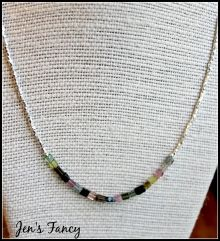 Tourmaline Karen Hill Tribe pure silver necklace