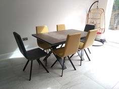 Extendable version of our Xenon dining table with Vulcano Ceniza ceramic top and Moka Matt frame. CANDY dining chairs in Marlborough Mustard&Carbon faux leather and Moka Matt legs. Delivered to our client in New Malden. Dining Chairs, Dining Table, Leather Bed, Moka, Sofa Design, Modern Bedroom, Contemporary Furniture, Sideboard, Mustard