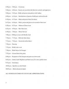 Wedding Timeline Day Before And Of Example Reception Schedule