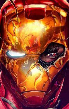 Iron Man vs Ghost Rider by Dan Bavell and Morten Rowley #DanBavell #MortenRowley #IronMan #TonyStark #Illuminati #Avengers #SHIELD #GhostRider #DannyKetch #MidnightSons #SecretDefenders #NewFantasticFour #SpiritofVengeance #PenanceStare