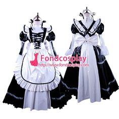 Free Shipping Black-White PVC Lockable Sissy Maid Dress Vinyl Uniform Tailor-Made