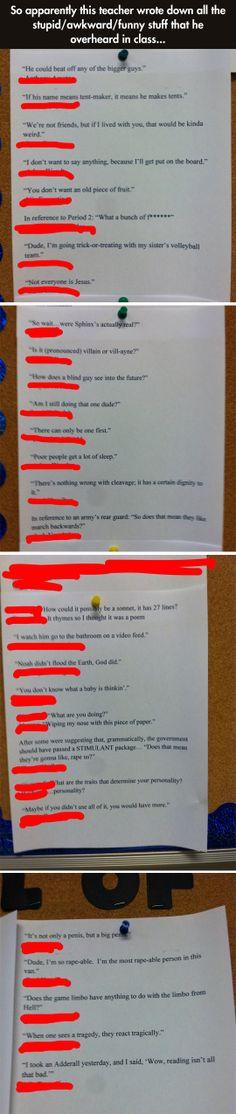 Teacher posts stuff they overheard in class