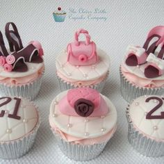 Handbags and Shoes Cupcakes by The Clever Little Cupcake Company Makeup Cupcakes, Shoe Cupcakes, Yummy Cupcakes, Cupcake Cakes, Cupcake Ideas, Cup Cakes, Heart Cupcakes, Cupcake Art, Cookie Ideas