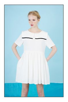 T-Shirt Sleeve Sailor Smock Dress White www.thewhitepepper.com/collections/new-in/products/t-shirt-sleeve-sailor-smock-dress-white