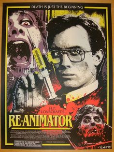 """Re-Animator - silkscreen movie poster (click image for more detail) Artist: James Rheem Davis Venue: N/A Location: N/A Date: 2013 Edition: 175; numbered Size: 18"""" x 24"""" Condition: NM+ (tiny corner bum"""