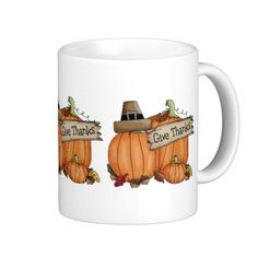 Thanksgiving Pumpkins / Give Thanks Coffee Mugs