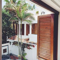 white and wooden shutters! Home Interior Design, Exterior Design, Interior And Exterior, Living In Costa Rica, I Love House, Outdoor Spaces, Outdoor Decor, Beach Shack, Tropical Houses