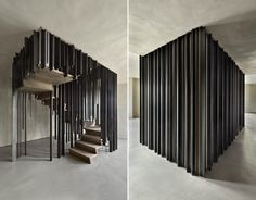 A staircase by Storage Associati that utilises perspectival anamorphosis to hide when viewed from the right angle.