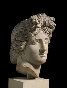 Marble head from a statue of Apollo. Culture/period: Roman (after a Hellenistic Greek original) - 120-140 (circa)