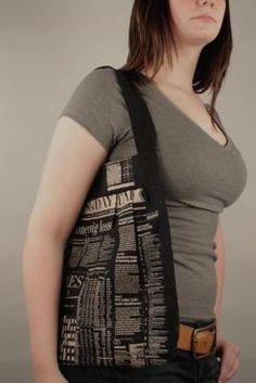 Katie Walker Designs  Newsprint Bag  http://www.katie-walker.com/