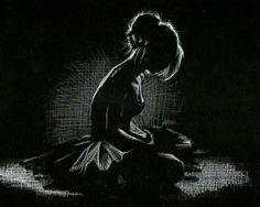 Ballerina. White charcoal on black paper.
