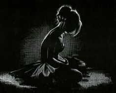 Ballerina. White charcoal on black paper.