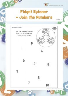 """In the """"Fidget Spinner - Join the Numbers"""" worksheets, the student must try join the numbers from 1 to 10 in sequence before their fidget spinner stops"""