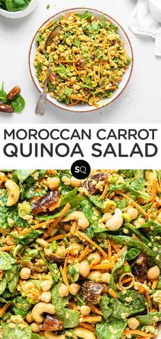 This healthy 10-Minute Moroccan quinoa salad combines crunchy vegetables like carrots and spinach, whole grains and a spicy turmeric-tahini dressing. It also has chickpeas, dates, and cashews. It's also vegan, gluten-free and great for meal prep!