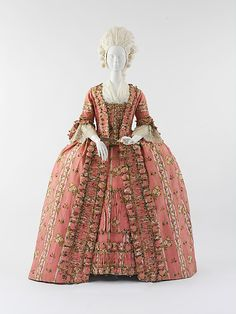 Robe à la francaise, France, c. 1775. Brocaded pink and cream striped silk with flower sprays.
