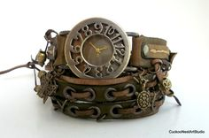 Wrap Watch, Army Green Womens wrist watch with charm, Handmade Leather Bracelet Watch
