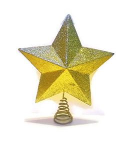 Gold Sparkle Star Christmas Tree Topper By Home Elements NIB 115 -- Click image to review more details.
