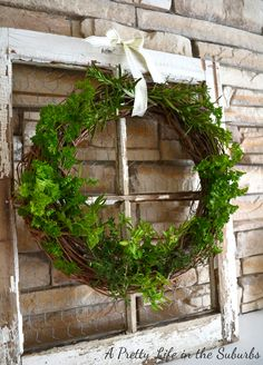 A Pretty Life in the Suburbs: Fresh Herb Wreath & A Summer Mantel- would look great for Christmas with an evergreen wreath Diy Wreath, Grapevine Wreath, Wreath Crafts, Diy Crafts, Garden Art, Home And Garden, Herb Garden, Old Window Frames, Window Frame Ideas